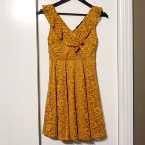 Mustard Yellow Lacy Floral V-Neck Flowy Dress